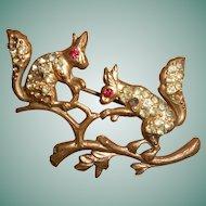 Paste Squirrels on a Branch Brooch