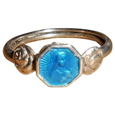 French Art Deco Silver Enamel Child's Saint Therese Ring