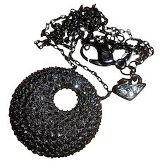 Vintage Daniel Swarovski Black Crystal Pendant Necklace