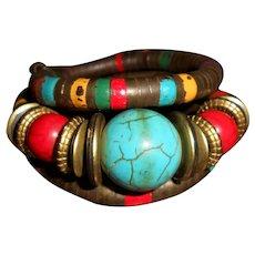 Vintage Ethnic Memory Wire Wrap Bracelet, Choker, Anklet, Hair Ornament