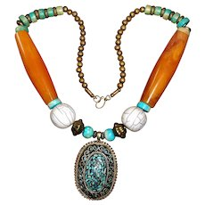 Tibetan Necklace with Huge Mizo Faux Amber Beads