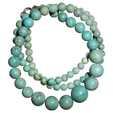 Delicate Vintage Natural Turquoise Graduated Bead Necklace