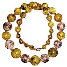 1950s Venetian Glass Wedding Cake Bead & Marbled Plastic Bead Necklace