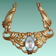 French Art Deco Vermeil Aquamarine Paste Pendant, circa 1920