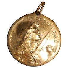 French Battle of Verdun Bronze Gilt Medallion by Vernier 1916