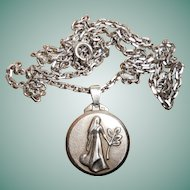 French Art Deco Silver Virgo as Glamour Queen Zodiac Pendant Necklace, circa 1930