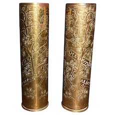 "WWI Trench Art ""Chinese Labour Corps"" Pair of 4 inch Shell Cases"