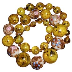 1950s Necklace with Venetian Glass Wedding Cake Beads & Faux Yellow Amber Beads