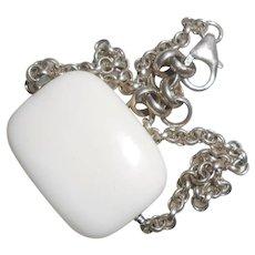 Minimalist White Ceramic & Silver Chain Bracelet