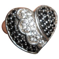Sterling Silver Witch's Heart Ring with Black & White Diamond Pastes