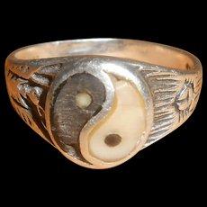 Antique Chinese Jade Yin Yang Buddhist Reincarnation Silver Ring