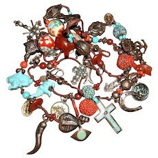 Zoe Coste Hippy Charm Necklace with Turquoise & Carnelian Carved Animals