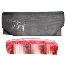 Art Deco Catalin Bakelite Mother of Pearl Handbag Comb with Fox Terrier Case, c1920