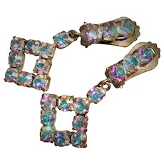 1950's Aurora Borealis Paste Clip On Earrings