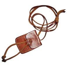 """Vintage Berber Tuareg Leather Purse Amulet """"Gris Gris"""" Pendant Necklace"""