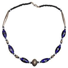 """Ethnic Necklace with Blue Glass """"Eye"""" Trade Beads"""
