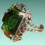 Huge Bohemian Glass Emerald Cocktail Ring