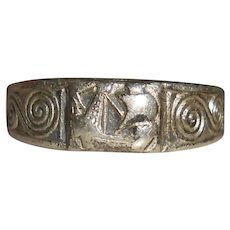 French Brittany 800 Silver Celtic Viking Ship Child's Ring