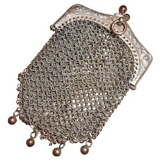 French Sterling Silver Chatelaine Purse with Vermeil Decoration