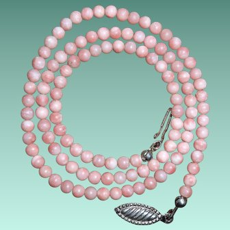 Vintage Necklace of Pale Salmon Pink Angel Skin Coral Beads