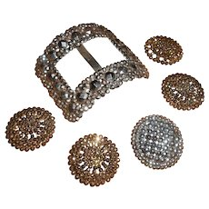 French Early 19th Century Cut Steel Shoe Buckle & Sliders
