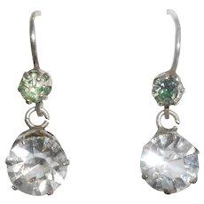 French Silver Diamond Paste Dormeuse Earrings, circa 1880