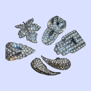 Same Maker Ensemble of French 1940's Rhinestone Rhodium Plated Dress Clips