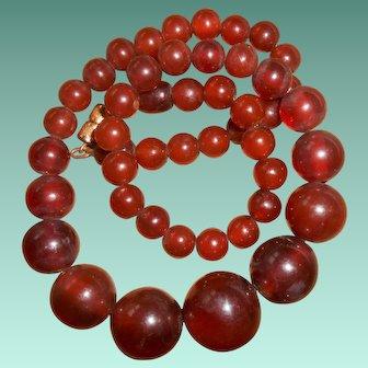 Art Deco Faux Cognac Amber Bead Necklace