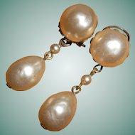 French Art Deco Faux Pearl Drop Earrings