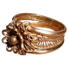 Antique 14 Carat Gold Filigree Bridal Ring from North Africa, Fully Hallmarked