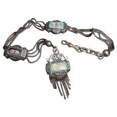 French Greek Revival Silver & Enamel Watch Chain