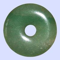 Natural Apple Green Chinese Jade Circular Pendant