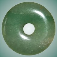 Natural Apple Green Chinese Jade Circular Pendant