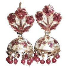 Late 19thC Indian Ruby Pendants & Silver Enamel Jhumka Earrings