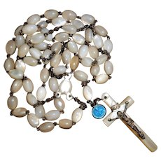 French Early 20th Century Hand Carved Mother of Pearl Rosary
