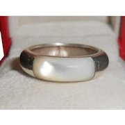 Mother of Pearl & Sterling Silver Chunky Domed Band Ring