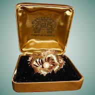 French 18 Carat Gold Filled Cultured Pearl Pansy Brooch, Original Box, circa 1940