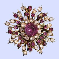 1950s Sputnik Brooch Pin with Purple & Diamond Pastes