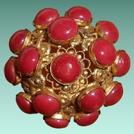 Czechoslovakian Red Coral Glass Cabochon Domed Pendant/ Brooch, circa 1920