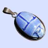 Egyptian 800 Silver Pendant with Faience Scarab Bead