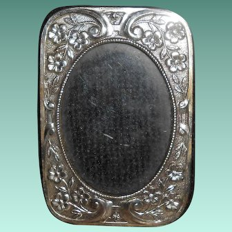 French Art Nouveau Silver Plated Miniature Photo. Frame with Flower & Scroll Decoration