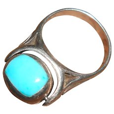 Mexican Silver Ring with Spinning Sleeping Beauty Turquoise Stone