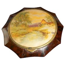 French Art Deco Tortoiseshell Umbrella Compact with Riverside Cottage