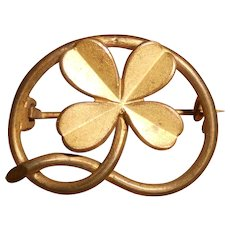 Victorian Pinchbeck Lucky Four Leaf Clover Brooch