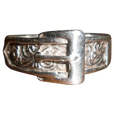 Vintage English Silver Buckle Ring