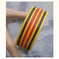 FUN Vintage PLASTIC Bangle Wide Tri-Color, Red, Yellow, Black, c. 1950's