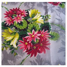 Vintage Textile Fabric Textured Cotton Bold Floral Motif 2 1/4 Yards Mint Never Used!
