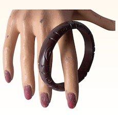 Vintage BAKELITE Bangle Carved Deeply Chocolate Brown Bakelite Art Deco Motif