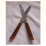 Vintage BAKELITE Kitchenware Flatware Fruit Knives Pair Two-Toned Bakelite Hallmarked ROSTFREI SOLINGEN