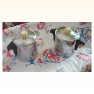 Vintage Kitchenware Chrome and Bakelite Creamer and Sugar Bowl Set Marked GENERAL ELECTRIC HOTPOINT Mint!